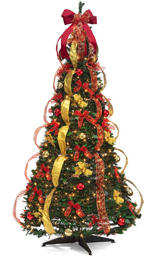 Christmas Tree Fully Decorated Pre-lit 6 Ft Pull Up Pop Up Out of Box