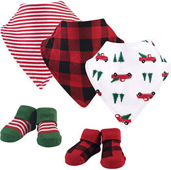 Hudson Baby Unisex Baby Cotton Bib and Sock Set