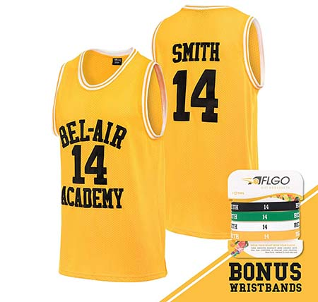 AFLGO Fresh Prince of Bel Air #14 Basketball Jersey S-XXXL Yellow