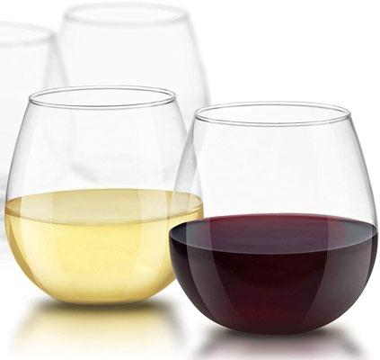 JoyJolt Spirits Stemless Wine Glasses for Red or White Wine