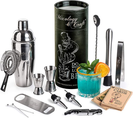 Mixology Bartender Kit: 14-Piece Cocktail Shaker Set