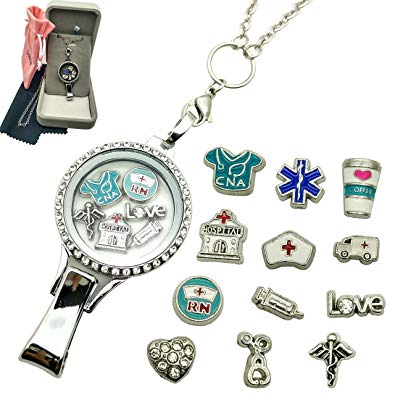Dotiow Floating Locket Lanyard Glass Locket ID Badge Holder with 12pcs/set Nurse Theme Floating Charms 30 inch Stainless Steel Chain Necklace (Nurse Theme)