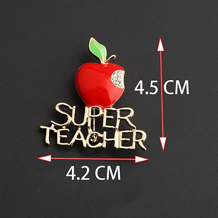 CENWA Red Apple Brooch Pin Super Teacher