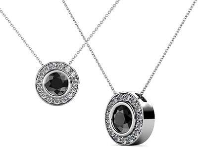 Black and White Diamond Circle Halo Pendant 0.68 cttw in 14K White Gold with 18 Inches 14K Gold Chain