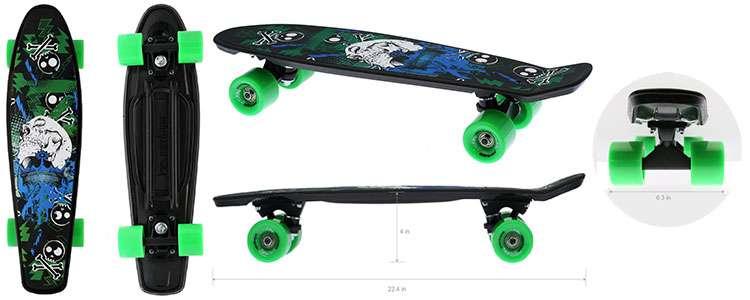 """Merkapa Skull Designs Complete 22"""" Skateboard"""